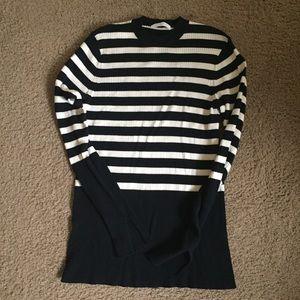 Everlane Mockneck Black and White Striped Sweater